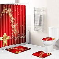 クリスマスのデコレーション浴室のシャワーカーテンセットのベスト、光沢のある3Dプリントクリスマスツリーバスタブのカーテン付きトイレ3点セット、ポリエステル防水 red2-50*80cm