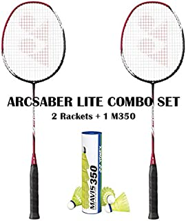 Yonex Arcsaber Lite (2 Rackets) Mavis 350 Yellow Medium Shuttecock Combo