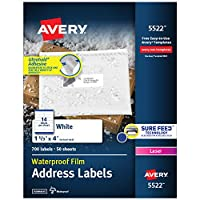 White Weatherproof Laser Shipping Labels, 1-1/3 x 4, 700/Pack (並行輸入品)