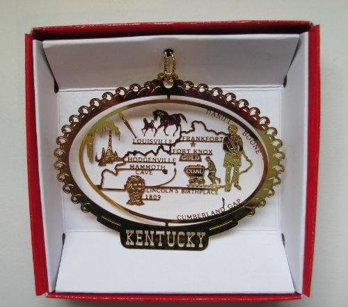 Kentucky State Brass Christmas ORNAMENT Souvenir Gift