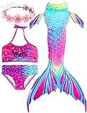 2018 Verano Traje de baño Sirena Chica Dos Piezas Brillante diseño de la Concha de Material cómodo Cosplay Bikini Set de cumpleaños(Regalo Gratis Crown) (S(3-4Y) 110, Rosa)