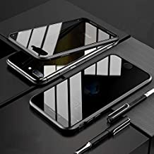 YMXPY iPhone 7 iPhone 8 Case Front and Back Double-Sided Glass with Aluminum Bumper Cover [360 ° Full Protection] [16 Magnets Type Metal Frame] [Wireless Charge] (Black, iphone7/iphone8)