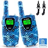 E-WOR Kids Walkie Talkies for Kids Rechargeable, 4 Miles Range 22 Channels 2 Way Radios with LCD Screen and Flashlight, 2019 Best Gifts Top Toys for Boys and Girls 3-12 Year Old Kids - Gift Box