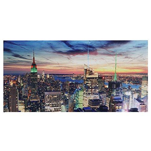 Mendler LED-Bild, Leinwandbild Leuchtbild Wandbild, Timer - 100x50cm New York, flackernd