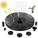 Jsdoin Solar Fountain Pump, Upgrade 1.4W Bird Bath, 4 Fixed Standing Holder, Solar Fountain with 6 Nozzle, Free Standing Outdoor Submersible Fountain Panel Kit for Pond, Pool, Patio, Garden