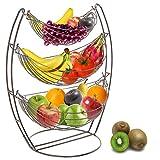 3 Tier Gunmetal Gray Triple Hammock Fruit/Vegetable/Produce Metal Basket Rack Display Stand - MyGift