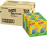 Glad Tall Kitchen Drawstring Recycling Bags - 13 Gallon Blue Trash Bag - 45 Count - 4 Box/Case (78542)