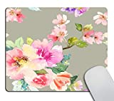 Smooffly Watercolor Cherry Blossoms on Gray Mouse Pad, Colorful Vintage Floral Print Mousepad, Grey