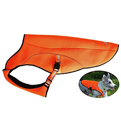 smartelf Dog Cooling Vest,Dog Cooling Coat Evaporative Swamp Cooler Jacket Safety Reflective Vest for Large Dogs Walking Outdoor Hunting Training Camping Orange