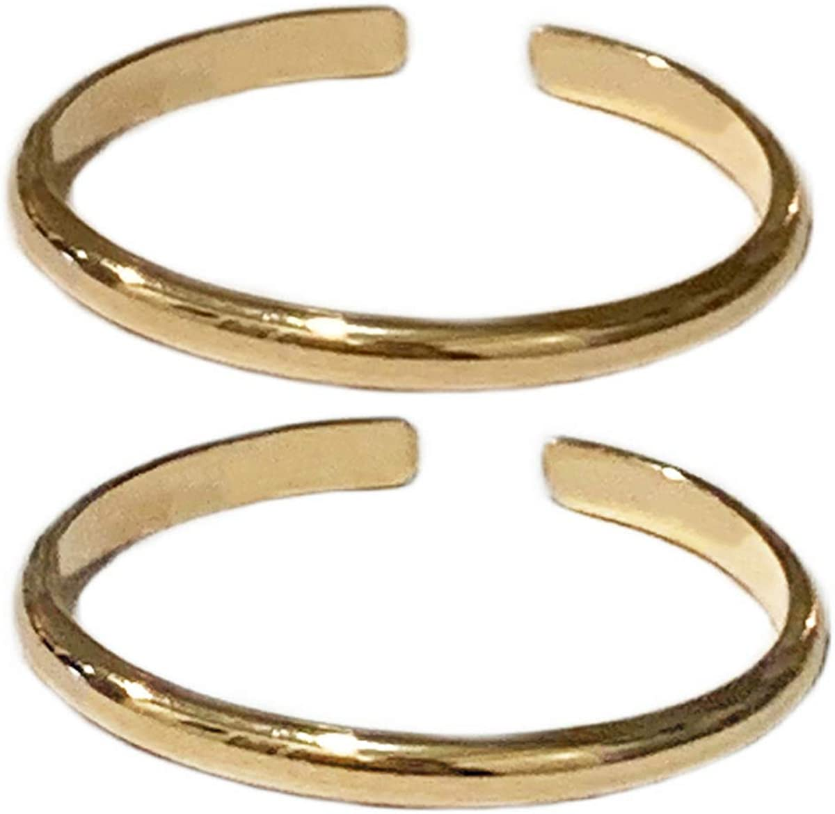 Toe Rings & Things | Set of Two | 1mm Half Round 14k Gold Fill Adjustable Toe Ring | Unisex