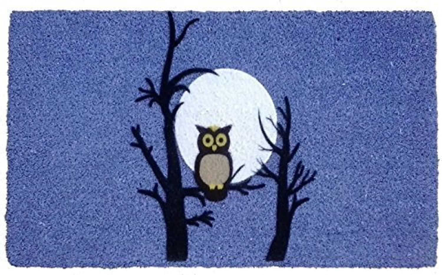 Imports Decor Night Owl Vinyl Backed Coir Doormat with Flocked Pattern, 30 x 18 x 1 2 by Imports