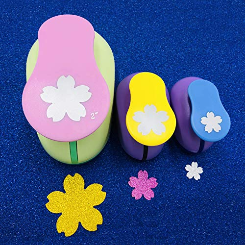 Worldoor 3 Pieces Punch 2 Inch 1 Inch 5/8 Inch Paper Punchers Scrapbook Craft Paper Punch (Cherry Blossoms)