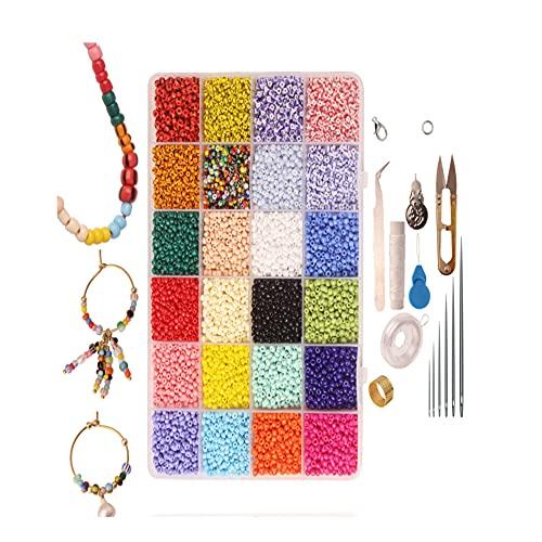 Chytaii Juego de 17000 piezas de 3/4 mm de cuentas de 24 colores para niñas, joyas, pulseras, collares, pendientes, anillos, manualidades, 2021Top regalos