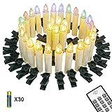 Yorbay 30er kabellose LED Kerzen Weihnachtskerzen IP64 wasserdicht RGB&Warmweiß mit Batterien, Dimmbar mit Fernbedienung und Timerfunktion, als Dekoration für Weihnachten, Weihnachtsbaum, Hochzeit