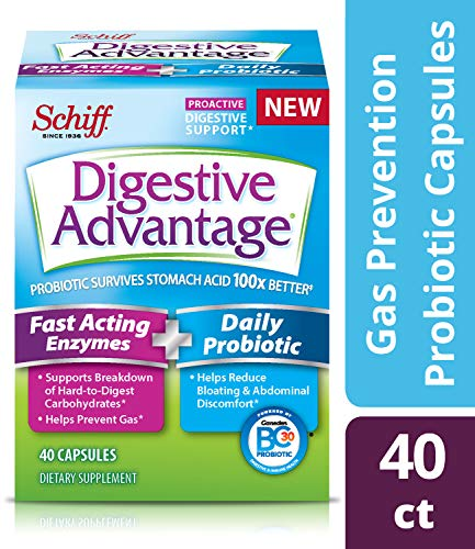 Digestive Advantage Fast Acting Enzymes & Daily Probiotic Capsules- Support Breakdown of Hard to Digest Foods & Prevent Gas, 40 Count (Pack of 2)