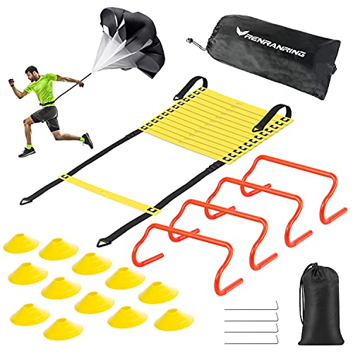 Agility Ladder Speed Training Equipment Set - Includes 20ft Agility Ladder, Resistance Parachute, 4 Agility Hurdles, 12 Disc Cones for Football Soccer Basketball Athletes Training Equipment(square)