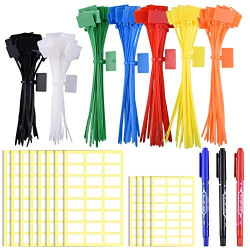 SIQUK 160 Stück Kabelbinder Tags bunt Kabelbinder Etiketten in 4/6 Zoll selbstsichernde Kabelbinder Marker mit 288 Stück weißen Etiketten und 3 Stück Marker für Kabel-, Kabel-und Kabel-Management