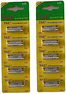 New T&E 10Pcs 23A 12V Batteries 23Ae Ms21 A23 V23Ga Vr22 Mn21