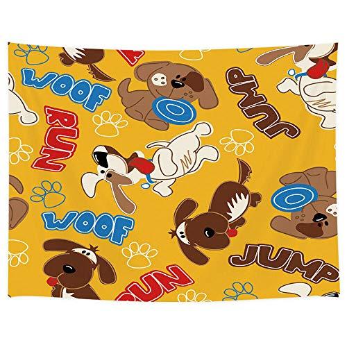 WAXB Tapiz Tapices De Cachorro De Perro Tapices De Arte De Decoración De Pared De Animales Divertidos para Niños Decoración del Hogar Regalo 51 X 59 Pulgadas