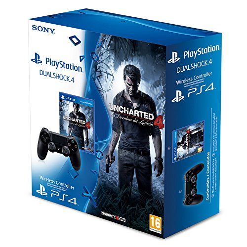 Sony Dualshock 4 + Uncharted 4 (PS4) Controller Playstation 4 Schwarz – Zubehör von Videospielen (, Gamepad kabellos, Playstation 4, Bluetooth, d-pad, Haus, Select, Start, Analog/Digital)