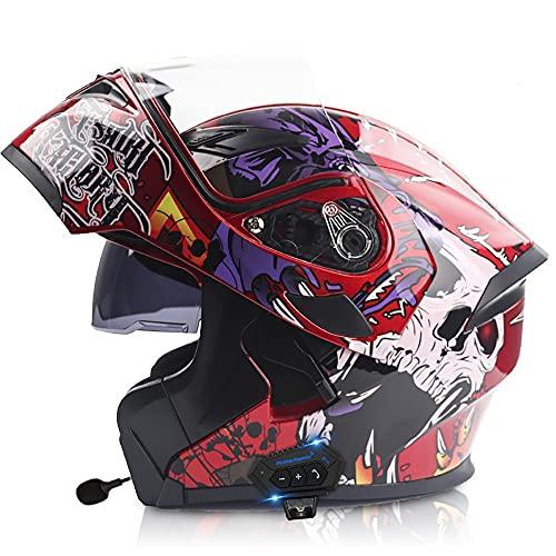 NAINAIWANG Bluetooth Integrated Motorcycle Helmet Flip up Full Face Dual Visors Modular Motocross Helmets DOT ECE Certification Built-in Mp3 FM Radio Integrated Intercom Communication System