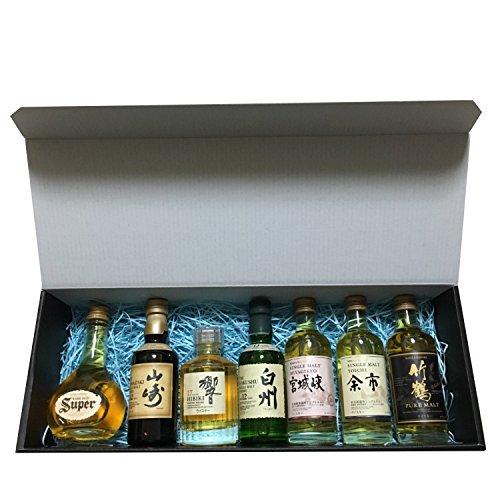 国産ウイスキーミニチュアボトル7種詰め合わせ(飲み比べ)ギフト(響17年 山崎12年 白州12年 余市 宮城峡 竹鶴 スーパーニッカ)