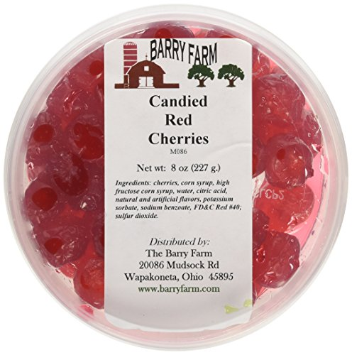 Candied Red Cherries, Whole, 8 oz.