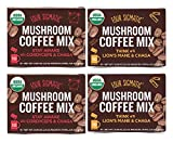 Four Sigmatic Mushroom Coffee Mix Pack of 4 - Lion's Mane and Chaga & Cordyceps and Chaga - 10 Packets Per Box