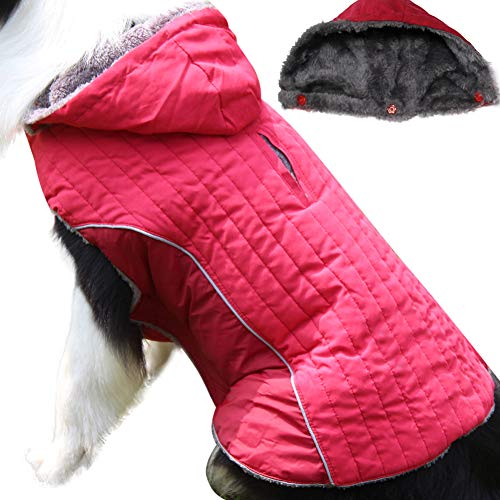 JoyDaog Fleece Dog Hoodie for Small Medium Dogs Super Warm Puppy Jacket for Cold Winter Dog Coats,Red M