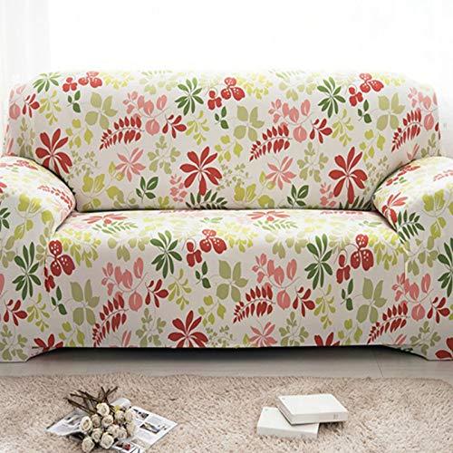 PPOS Funda de sofá elástica Universal, sofá seccional, Funda de Muebles para sillón, Hojas Florales de pájaros A8, 4 Asientos, 235-300cm-1pc