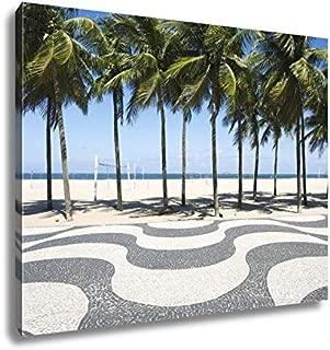 Ashley Canvas Copacabana Beach Boardwalk Rio De Janeiro Brazil Rio De Janeiro Iconic Sidewalk Tile Pattern with Palm Trees at Copacabana Beach Rio De Janeiro Brazil 16x20