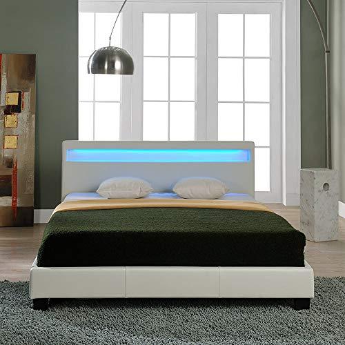 Corium Lit capitonné à LED (Paris) avec Matelas (180x200cm)(Blanc)(Mousse Froide) - avec Cuir synthétique/Housse en Cuir synthétique/éclairage RVB/avec sommier à Lattes /
