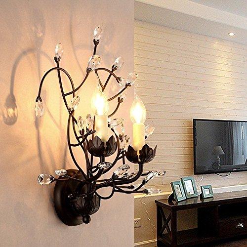 YU-K Chambre Simple Vintage wall lamp creative living salle à manger chambre lumières lumières allée wall lamp crystal garden restaurant rétro en fer forgé lights bar bar chambre salle à wall lamp (43 * 38 cm)