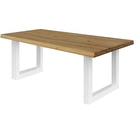COMIFORT Table de salle à manger – Meuble pour salon bureau robuste et moderne en chêne massif couleur fumé avec côtés ondulés, pieds en acier U-forme blancs (220 x 100 cm)