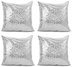 Saisong Silver Sequin Throw Pillow Covers Reversible Square Case Cushion Case Decorative Pillowcover Hidden Zipper Design for Sofa Bed Car Kids New Year Wedding/Christmas 18