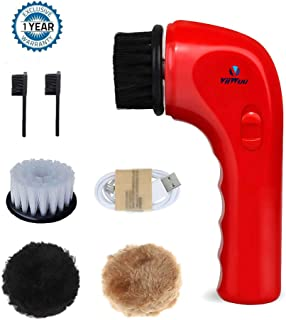 Electric Shoe Brush, Viiwuu Upgrate Portable Handheld Automatic Electric Shoe Shine Polisher Leather Care for Bags Car Seat Sofa dish Cleaning Tools Kit (Red)