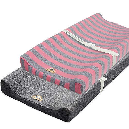 Capa para trocador de fraldas ultramacia e elástica BlueSnail (rosa + cinza mesclado)