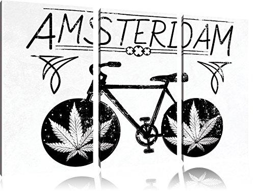 Amsterdam LightFoto Canvas 3 deel | Maat: 120x80 cm | Wanddecoraties | Kunstdruk | Volledig gemonteerd