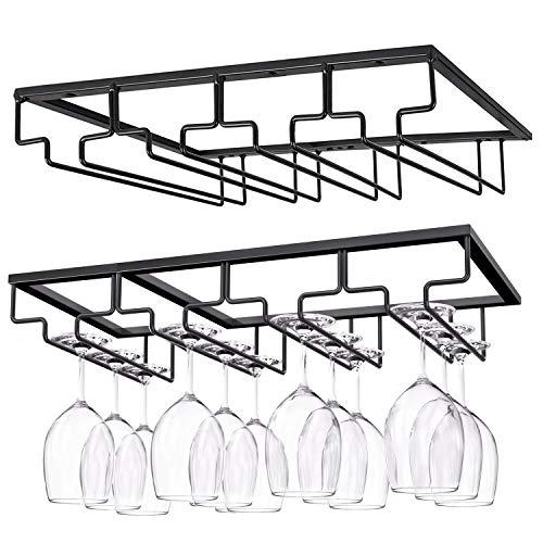 Weinglashalter Gläserhalter, Stielgläser Aufbewahrung Aufhängen Halter Weinregale unter Schrank, Metall Weinglashalterung für Bar Küche Keller (Schwarz 4Reihen 2Pack)