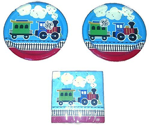 Creative Converting All Aboard Train Birthday Party Plates (16) Napkins (16) Party Bundle