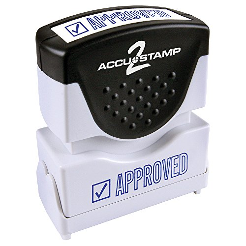 "ACCU-STAMP2 Message Stamp with Shutter, 1-Color, APPROVED, 1-5/8"" x 1/2"" Impression, Pre-Ink, Blue Ink (035575)"