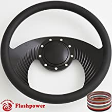 Flashpower 14`` Billet Half Wrap 9 Bolts Steering Wheel with 2`` Dish and Horn Button(Black)