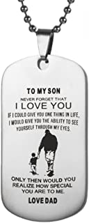 Mrsrui Men Fashion Dog Tag Necklace To my Son Dad Love Stainless Steel Punk Jewelry