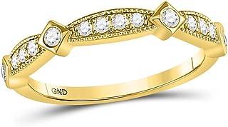 FB Jewels 10K Yellow Gold Womens Round Diamond Milgrain Pinched Wedding Band Ring 1/4 Cttw Size 7 (Primary Stone: I2 clari...