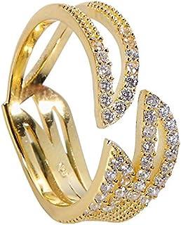 جينا هنتر تشيكوسلوفاكيا خاتم ثلاثي مخالب للنساء 925 قاعدة من الفضة الاسترليني مع أحجار زركون مكعب مقاسات 6-7