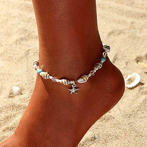 Zoestar Tobillera de plata con estrellas de mar de mar de estilo bohemio, con cadena y cuentas para...