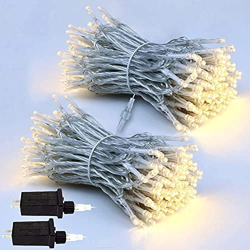 EXF 2-Pack Extendable Christmas Lights, Total 240LED Waterproof Clear Wire String Lights Indoor/Outdoor, 8 Modes Xmas Decorations Lights for Room, Garden, Ramadan, Tree (Warm White)