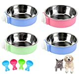 Lucky Interests 4 Pack Crate Dog Bowl, Plastic Bowl & Stainless Steel Bowl Removable Hanging Food & Water Feeder 2-in-1 Cage Bowl Coop Cup for Cat, Dog, Birds with 4 Pet Food Spoons (Blue+Pink+Green)