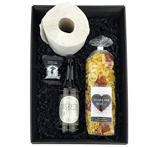 Geschenkbox 'Alles Wird gut!' / für Männer/Klopapier/Toilettenpapier/Bier/Notfallbox/Geschenk, Holzherzen:Kein Herz