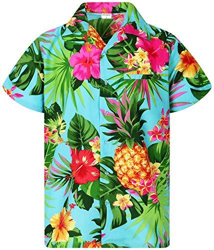 King Kameha Funky Hawaiihemd, Kurzarm, Ananas, Türkis, XL